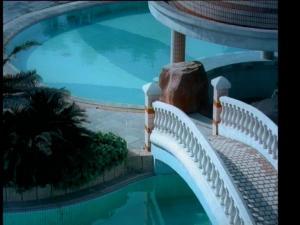 小区内游泳池小桥特写