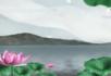 中国风-湖边的荷花与高山