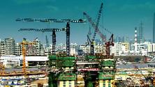 建筑工地 电焊 塔吊 建筑工人 场馆建设