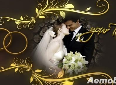 花纹钻戒婚礼电子相册模板