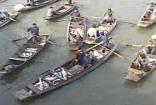 捕鱼船队鱼市撒网