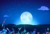 唯美夜景月亮月光蝴蝶