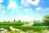 清新绿草风车