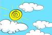 卡通太阳云朵