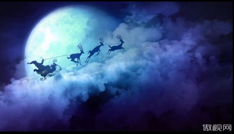 圣诞节圣诞老人夜空