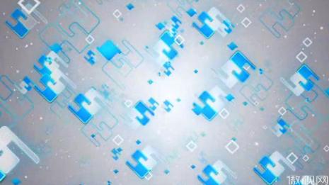 蓝色梦幻飘动几何体