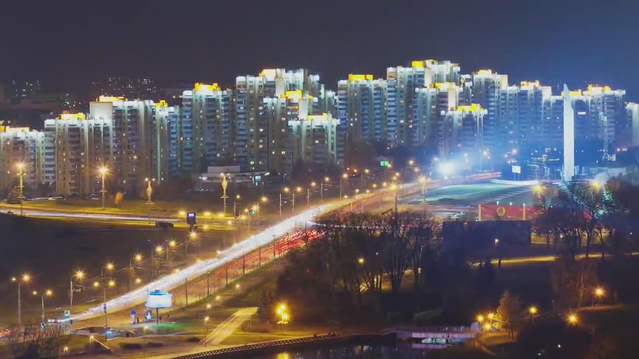 延时摄影城市风光白俄罗斯
