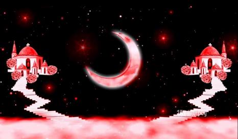 唯美爱情背景月亮爱的小屋情人节浪漫