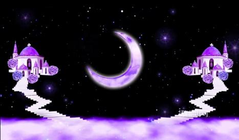 唯美爱情背景月亮小屋情人节浪漫