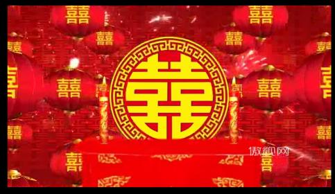 婚礼背景喜字双喜囍蜡烛灯笼新婚礼仪