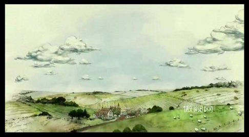 高清水彩动画抒情绿色农庄