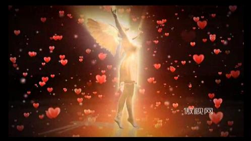 爱心 天使 心形 光芒 粒子 光线 翅膀 天使
