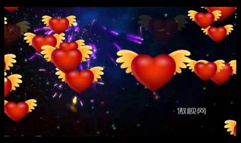 爱心气球 烟花 礼花 情人节 浪漫 天使