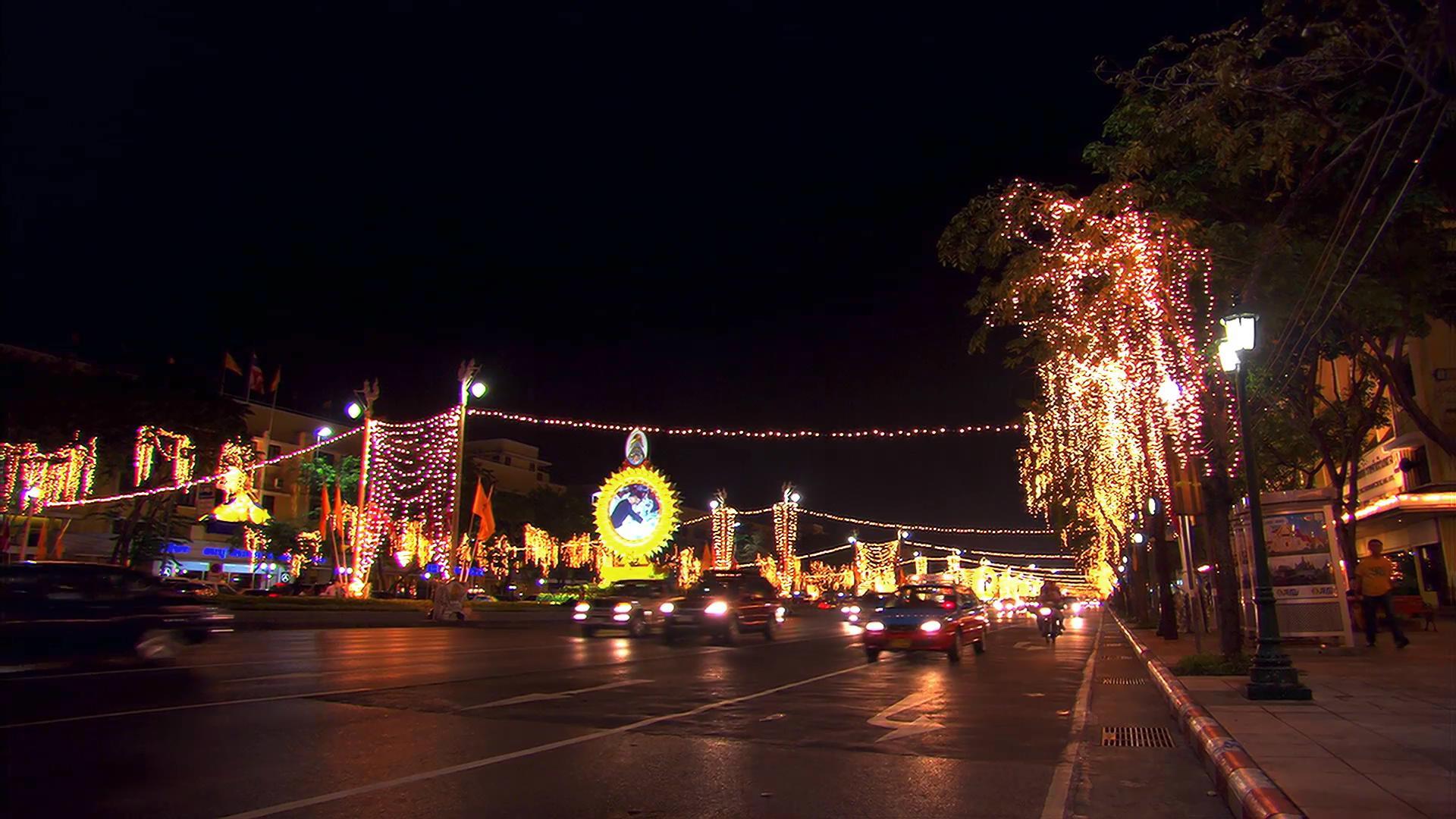 亞洲城市高清實拍-夜晚公路街道車流
