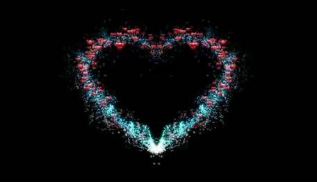 爱心和美丽的粒子